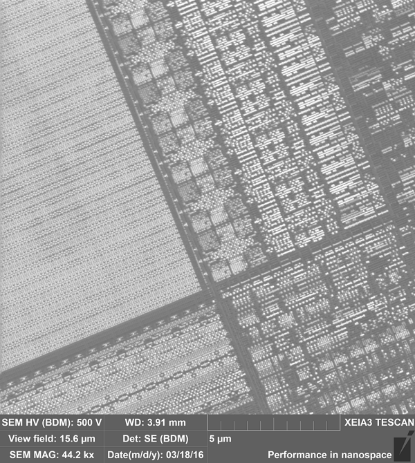 A deprocessed microelectronics chip imaged using SEM