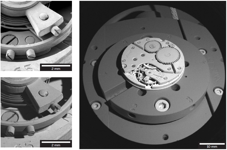 Sample: mechanism of a Swiss watch. Images acquired in the Depth mode with the E-T (top left) and BSE (bottom left) detectors. Image acquired in the Wide Field mode with the BSE detector.