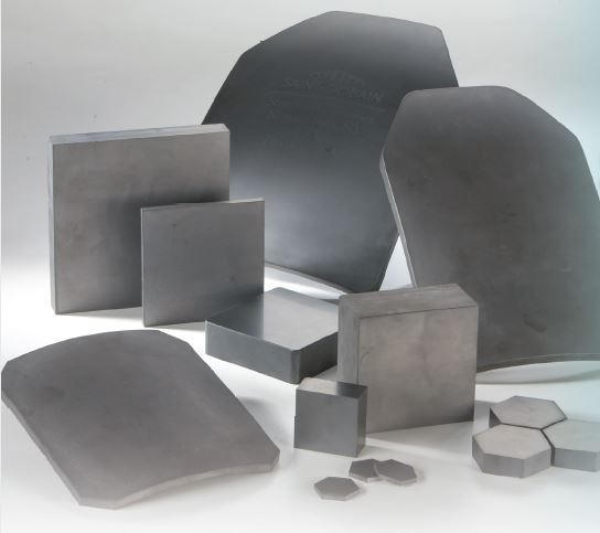 Sintered SiC Hexoloy® body and vehicle armor tiles by Saint-Gobain. (Credit: Saint-Gobain)