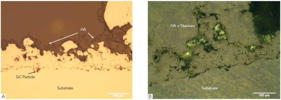 Showing (A) as polished surface bright field image showing the Ti6Al4V substrate and thermal sprayed titanium and hydroxyapatite (HA) top coat, (B) as-polished viewed with polarized light to reveal the alloy and sprayed titanium microstructures.