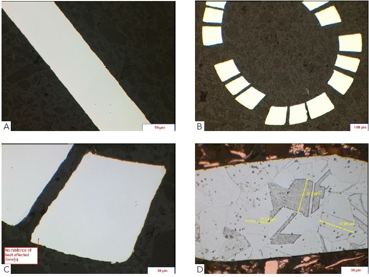 A) show a sheet metal of AISI 316LVM steel as polished, (B) shows a rolled sheet and laser machined, (C) illustrates a high magnification image of a machined region to ascertain presence of heat affected zone and (D) shows corresponding austenitic microstructures for grain size measurement electroetched using 10% oxalic acid.