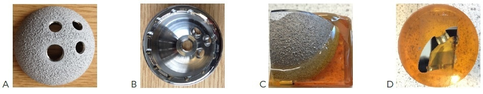 (A) and (B) illustrates an acetabular cup made of Titanium (substrate) and coated with HA and Titanium powder through flame spray technique. (C) shows encapsulated sample in epoxy for section and (D) illustrates remounted sectioned sample ready for grinding/polishing steps.