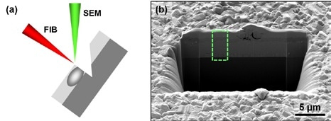 (a) Schematic showing the arrangement of the sample, and FIB and SEM beams during FIB-SEM cross sectioning work. (b) SEM overview image of a cross section in a CIGS solar cell on glass. The area within the green dashed frame is shown in more detail in Figure 3.
