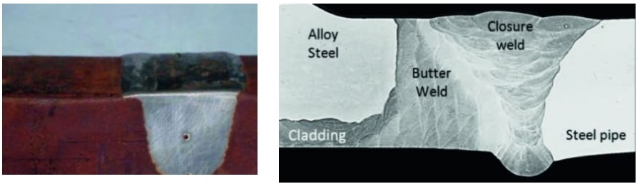Welding of cladded pipes. Containing a dissimilar weld material (left) and a weld used to join two different materials (right).
