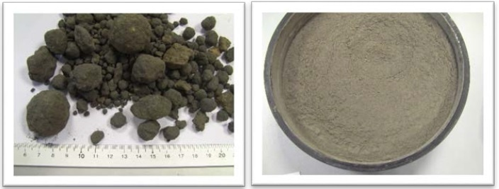 Cement clinker sample before (left) and after (right) grinding in the RS 300 XL.