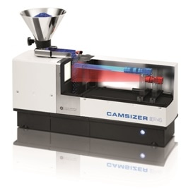 CAMSIZER P4. The zoom camera (blue) and basic camera (red) analyze the sample simultaneously.