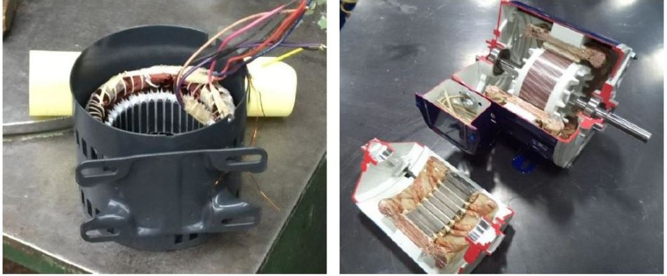 Test motor used for evaluation of Zeus PEEK insulation products: Left: Original stator prior to head removal and stripping. Right: New insulation system cut-away.