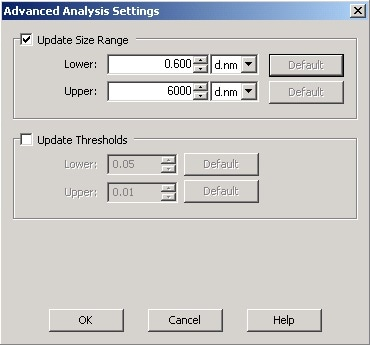 The Advanced Analysis Settings tab allows the Display Size Limits to be edited.