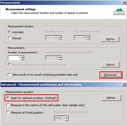 Clicking the Advanced button on the Measurement Settings window allows access to the default option of seeking for the optimum measurement position.