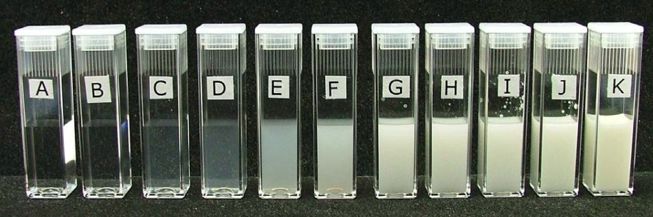 Photograph showing the various concentrations of Intralipid that were used in figure 2. The concentrations of the Intralipid samples were A = 0.0001% w/v, B = 0.001% w/v, C = 0.005% w/v, D = 0.01% w/v, E = 0.05% w/v, F = 0.1% w/v, G = 0.5% w/v, H = 0.75% w/v, I = 1% w/v, J = 2% w/v and K = 10% w/v (neat sample). The zeta potentials of samples A to I were successfully measured in the Nano i.e. up to 1% w/v concentration.
