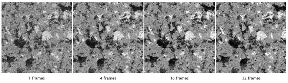 BSE images of the same area acquired with the same beam settings with different number of integrated frames, from 1 to 32.