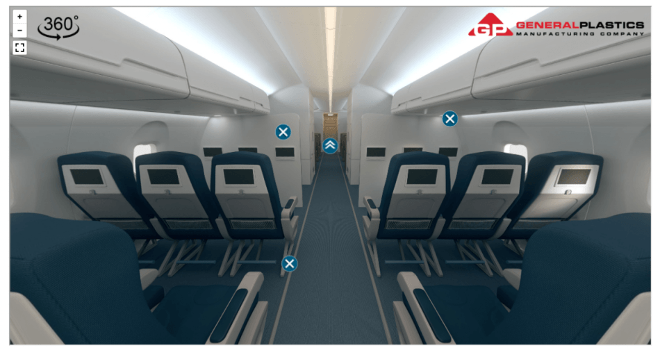 Explore an interactive 360° graphic to find out where polyurethane and foam core products are used in aircraft interior solutions.