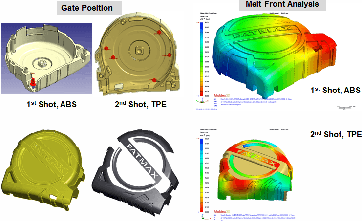 Moldex3D is able to simulate the bonding behavior of the first and second shots.