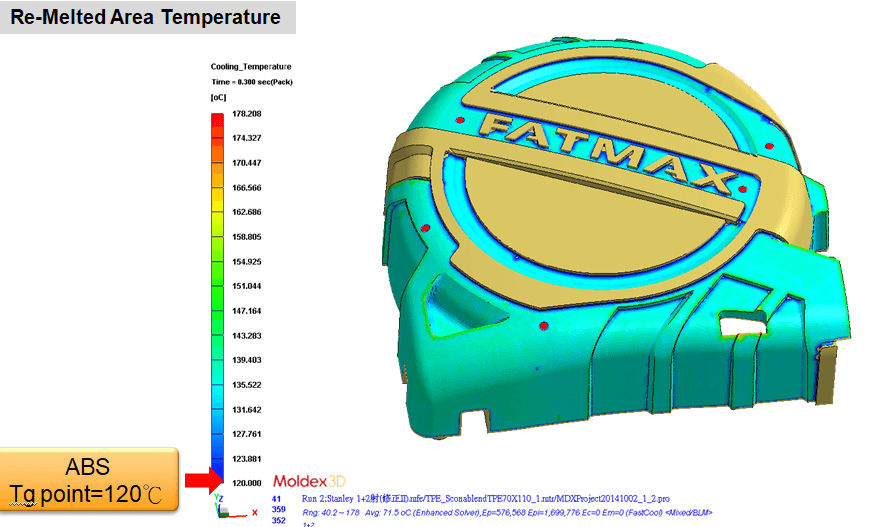 Moldex3D Bi-injection Module can predict that the re-melt temperature of the surface is higher than the material temperature difference when the first shot contacts the second shot. Thus, the interface of both shots is expected to be a good combination.