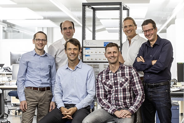 Zurich Instrument's core quantum team (from top left): Bruno Küng (Application Scientist), Jürg Schwizer (Head of Software), Sadik Hafizovic (CEO), Niels Haandbaek (Senior Engineer), Jan Benhelm (Head of Marketing), and Adrian Messmer (VP R&D).