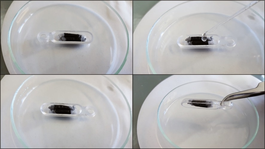 Top left: Extruded activated charcoal in the sample boats, Top right: Wetting with two drops of glycerol. Bottom left: wet activated charcoal. Bottom right: after wetting the activated charcoal with glycerol, it does not fall out of the sample boat even when turned upside down. This effect persists for about 24 hours.