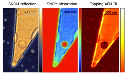 Measurement of graphene wedge on silicon with s-SNOM and Tapping AFM-IR shows plasmonic effects at the edge.