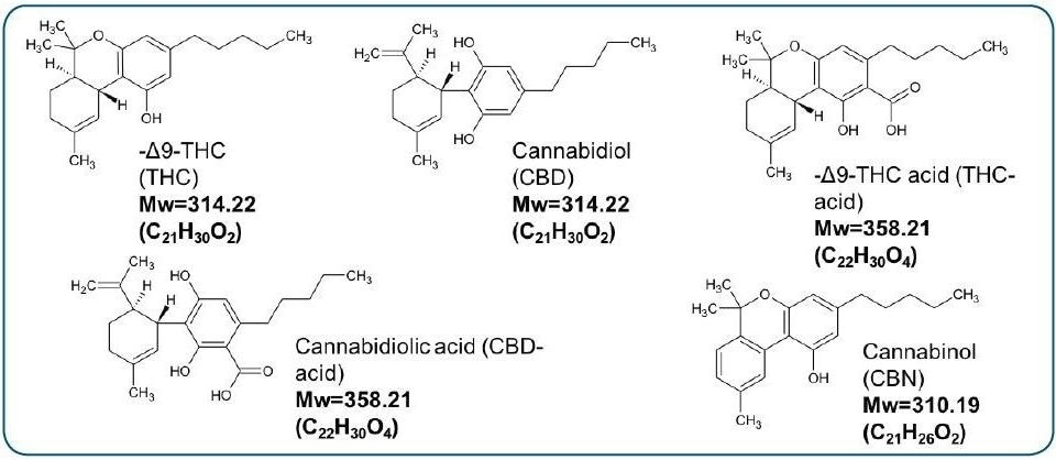 Chemical structures, elemental compositions, and molecular masses of select Cannabinoids.