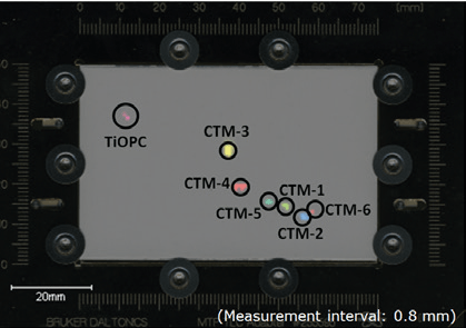 MS image of CTM-mix developed two dimensionally on TLC plate