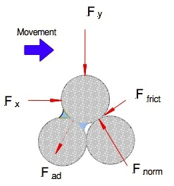 Typical forces acting on a particle in shear