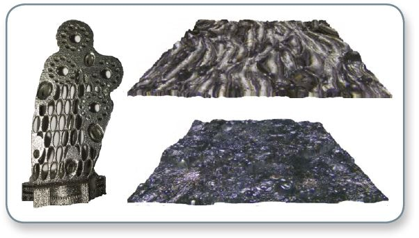 True color image of a manufactured metal part (left), courtesy of Volum-E, France; and 3D rendering of topographies (0.7x0.7 mm²) with color map overlays of an aluminum powder (top right) and an Inconel powder (bottom right).