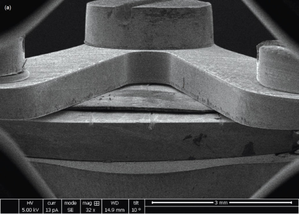 (a) Low-magnification SEM image of a sample clamped to a substrate; (b) pre- and (c) post-images of a fiber push-out test.