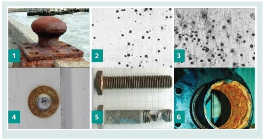 Different types of corrosion: 1. Uniform corrosion 2. and 3. Pitting corrosion 4. Galvanic corrosion 5. Crevice corrosion 6. Microbiologically induced corrosion