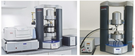 left: HAAKE MARS rheometer with Rheonaut module and FTR spectrometer; right: HAAKE MARS rheometer configuration for UV curing measurements incl. temperature control.