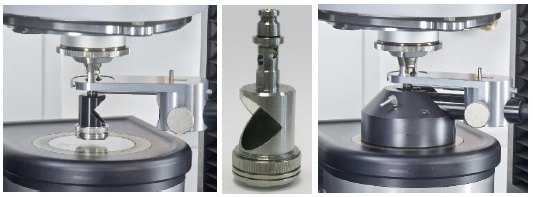 left: measuring geometry and adapter for mounting and adjusting the collimator and light guide; middle: upper shaft with integrated mirror; right: holder for collimator plus closed hood.