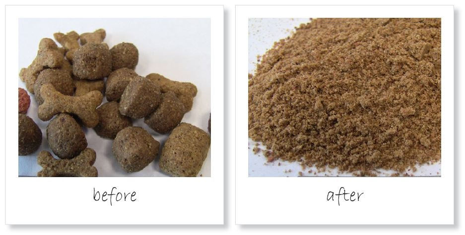 Homogenization of dog food pellets before and after grinding down to < 0.5 mm in the ZM 200