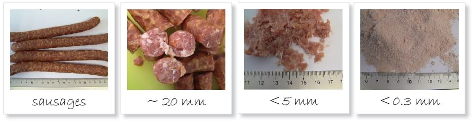 Homogenization of sausages; from left to right: original sample; pre-cut with large fatty parts; ground to <5 mm; pulverized sample <300 µm