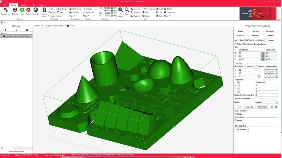 3D Printing Software allows direct import of industry standard STL files