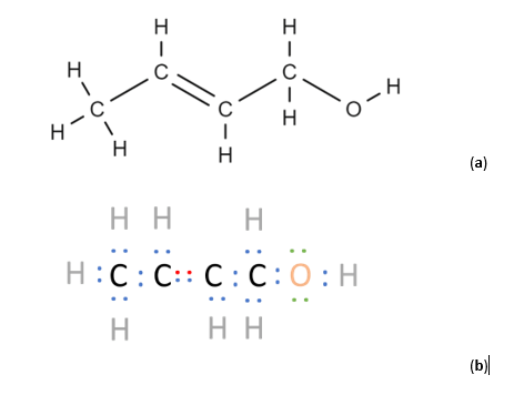 Two representations of a 2-Buten-1-ol molecule are shown in (a) and (b). In organic molecules, σ electrons make up single covalent bonds, π make up double/triple bonds, and n electrons are not used for bonding. The different types of electrons are color-coded in (b): blue corresponds to σ electrons, red to π electrons, and green to n electrons.
