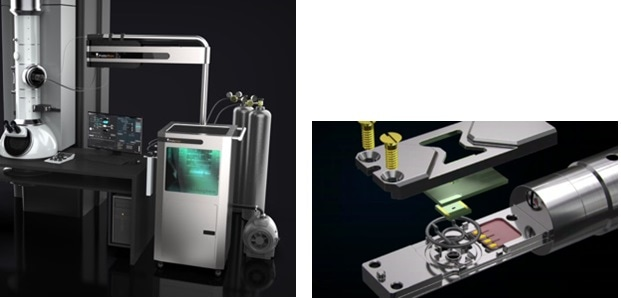 Left: The entire Protochips Atmosphere System (latest generation called the Atmosphere Catalysis System) showing custom gas handling system, integrated mass spectrometer, vapor introduction kit, closed-cell holder (inside of the TEM), and software. Right: Close-up of the closed-cell holder: sample is placed between the two MEMS E-chips (shown in a green color) and hermetically sealed via compression from the lid for safe insertion into the TEM.