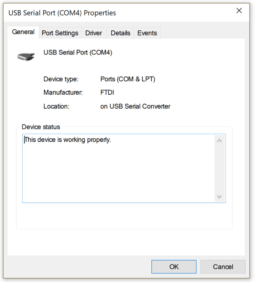 The COM port settings for the 9103
