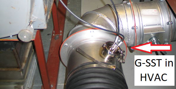 G-SST Probe installed in the HVAC system. Fiber Optic Cables connected to the probe are run to the HPV analyzer.
