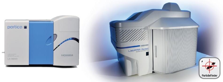 Experimental systems used for these experiments. Left: LA-960 Particle Size Analyzer. Right: LabRAM Soleil Raman micro-spectrometer