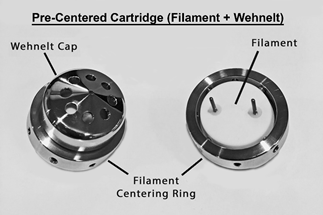 Pre-centered filament cartridge.
