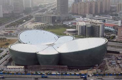 The Shanghai Oriental Arts Center resembles the petals of a butterfly orchid in bloom.