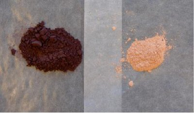 Hematite ore before (left) and after (right) extraction.