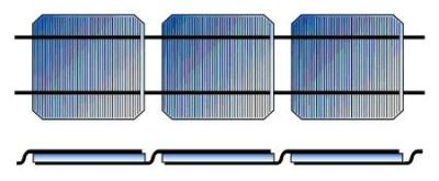 Solar cells connected in series with tabbing ribbons.