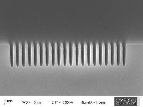 50nm features etched />500nm deep