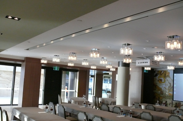 KlipTex acoustic stretch fabric ceiling installed at The Rocks HYATT.