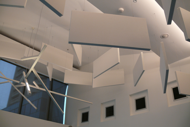 EchoSorb acoustic baffles suspended at Russel Investments.