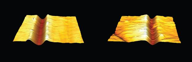 3D AFM images of scratches on sample 1 (a) and sample 2 (b) at a scan size of 25 µm x 25 µm.