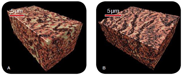 3D microstructure of magnesium diboride, treated (A) with and (B) without malic acid doping, as imaged with the UltraXRM-L200 utilizing 50 nm resolution. The large cracks observed in the non-doped sample explain the observed differences in critical current density as a function of applied field between the two treatment schemes.