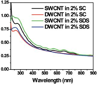 UV-Vis-NIR absorption spectrum of the nanotube solutions.