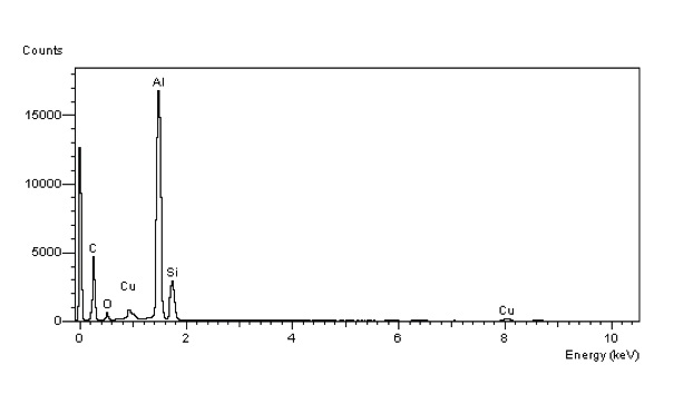Typical EDS spectrum of aluminum diecast sample surface (as received)