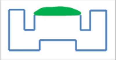 Diagram of an SFI crucible with sample (green)