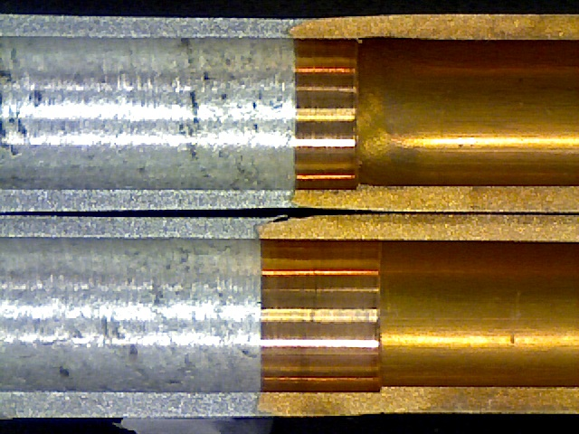 Section view of bi-metal Aluminum-Copper tubes.